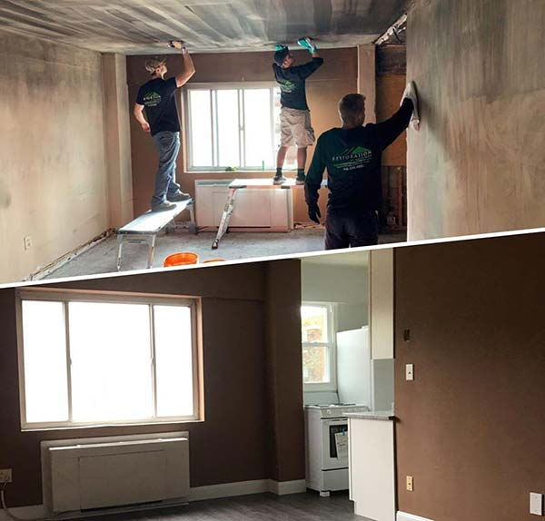 fire and smoke damage cleanup before and after